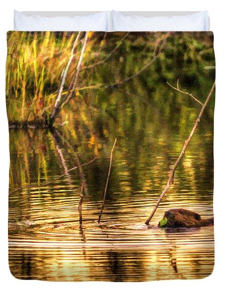 Beaver Eating Late Evening Duvet Cover by Dan Friend