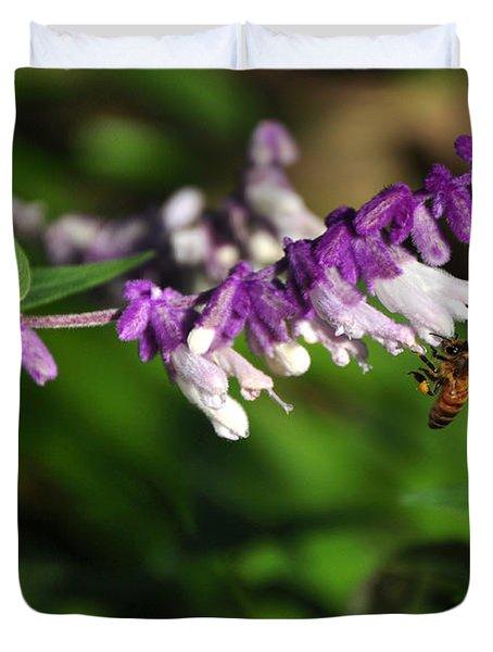 Bee On Flower Duvet Cover by Kaye Menner