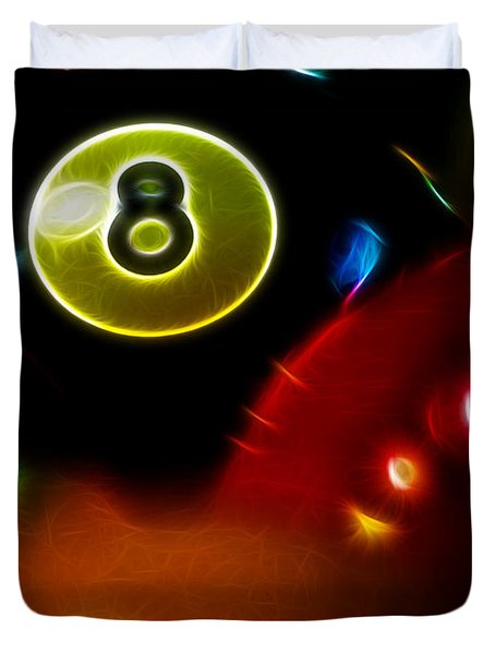 Behind The Eight Ball - Vertical Cut - Electric Art Duvet Cover by Wingsdomain Art and Photography