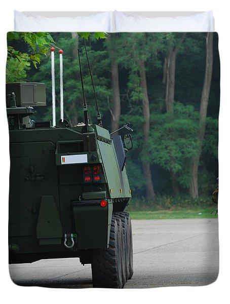 Belgian Infantry Soldiers Walk Duvet Cover by Luc De Jaeger