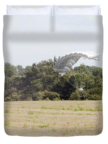 Belgian Paratroopers Descending Duvet Cover by Luc De Jaeger