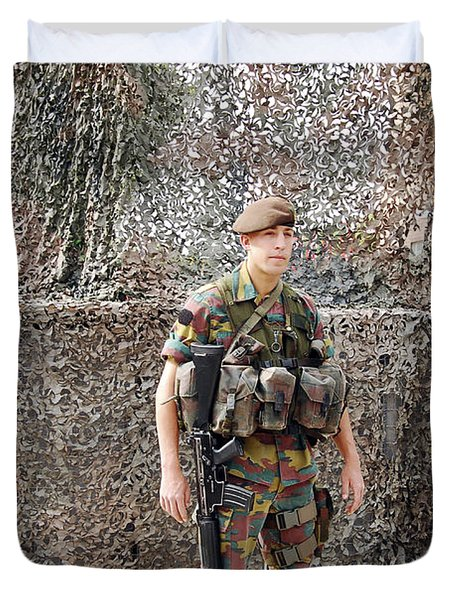 Belgian Soldier On Guard Duvet Cover by Luc De Jaeger