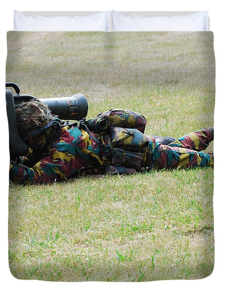 Belgian Soldiers Setting Up The Milan Duvet Cover by Luc De Jaeger