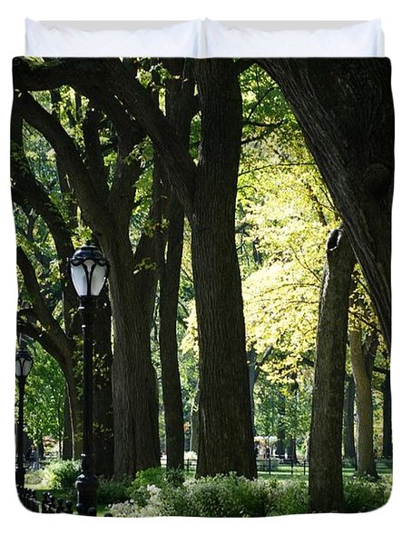 BENCHES TREES and LAMPS Duvet Cover by ROB HANS