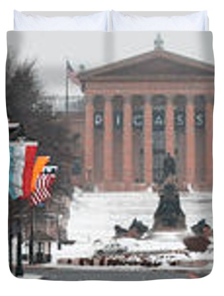 Benjamin Franklin Parkway Panorama Duvet Cover by Bill Cannon