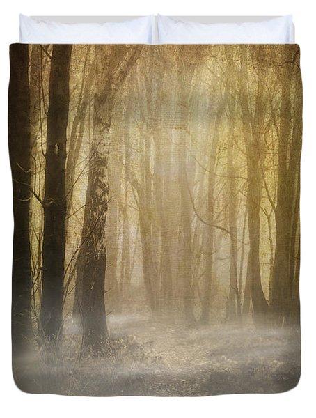 Beware Misty Woodland Path Duvet Cover by Meirion Matthias
