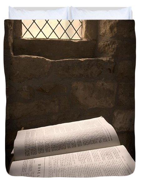 Bible In A Church, Rosedale, North Duvet Cover by John Short