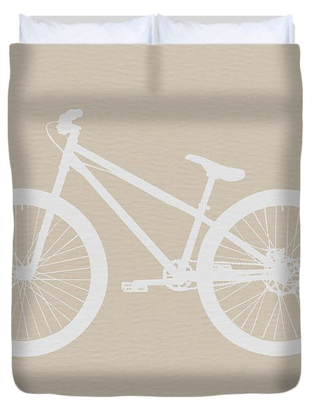 Bicycle Brown Poster Duvet Cover by Naxart Studio