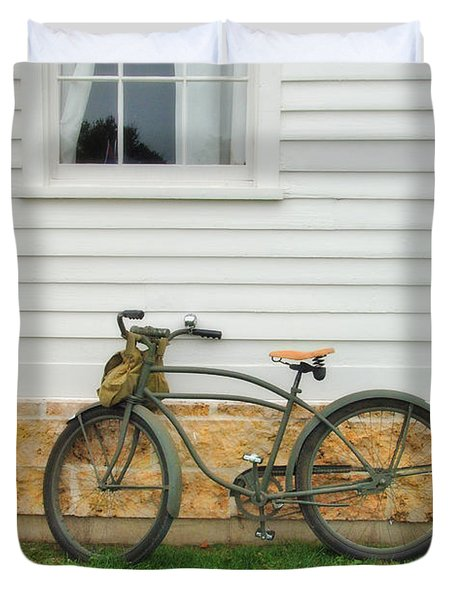 Bicycle By House Duvet Cover by Jill Battaglia