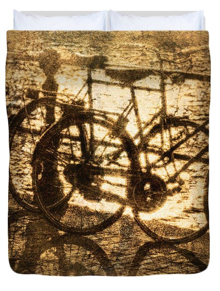 Bikes On The Canal Duvet Cover by Skip Nall