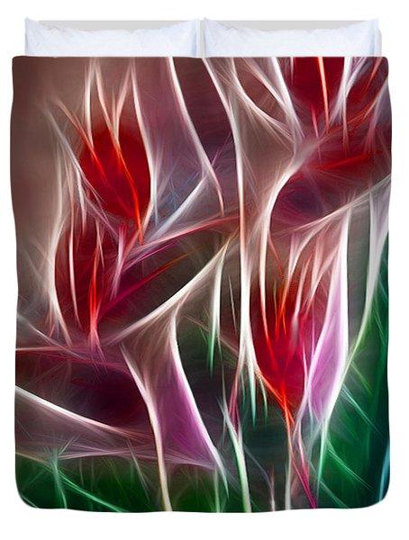 Bird Of Paradise Fractal Panel 2 Duvet Cover by Peter Piatt