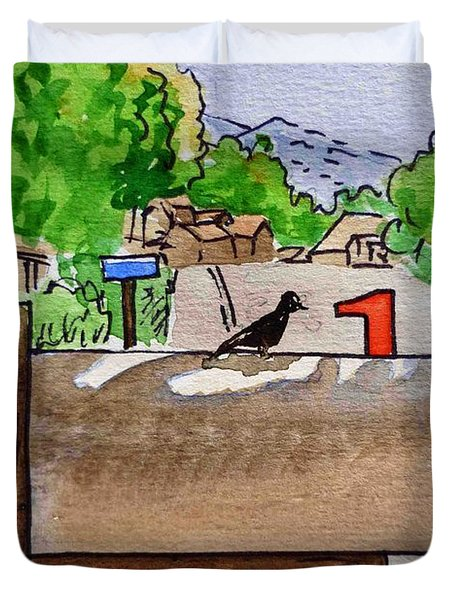 Bird On The Mailbox Sketchbook Project Down My Street Duvet Cover by Irina Sztukowski