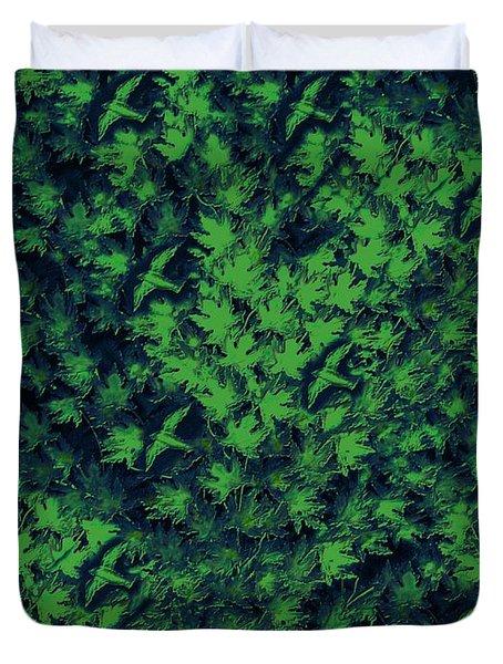 Birds In Green Duvet Cover by David Dehner