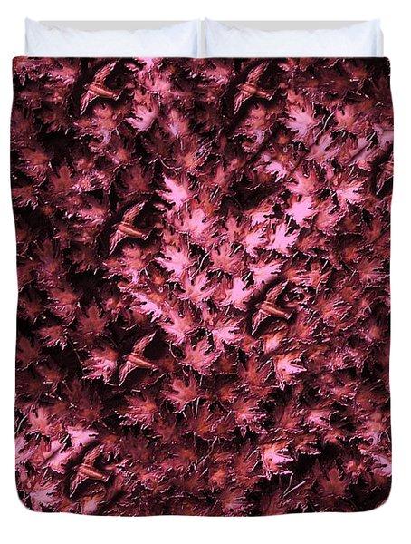 Birds In Redviolet Duvet Cover by David Dehner