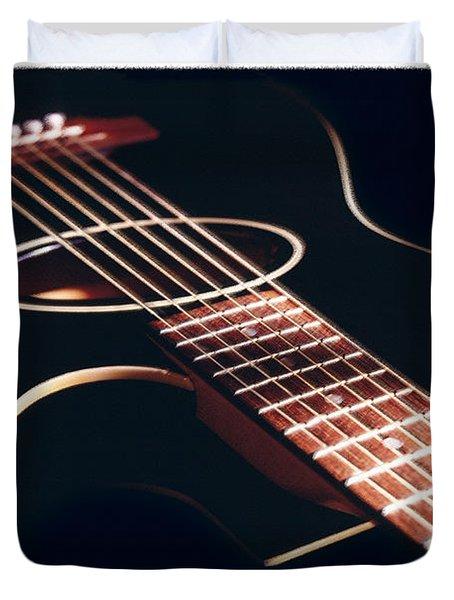 Black Acoustic Guitar Duvet Cover by Mike McGlothlen