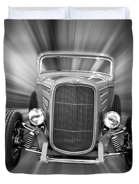 Black and White 32 Ford Duvet Cover by Steve McKinzie