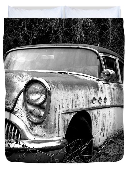 Black and White Buick Duvet Cover by Steve McKinzie
