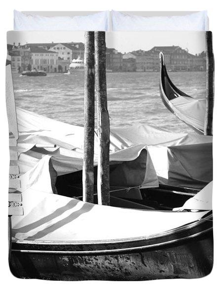 Black And White Gondolas Venice Italy Duvet Cover by Rebecca Margraf