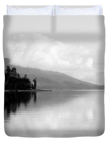 Black And White Island Near Hoonah Duvet Cover by Darcy Michaelchuk