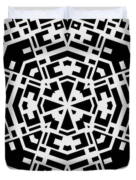 Black And White Kaleidoscope Duvet Cover by David G Paul