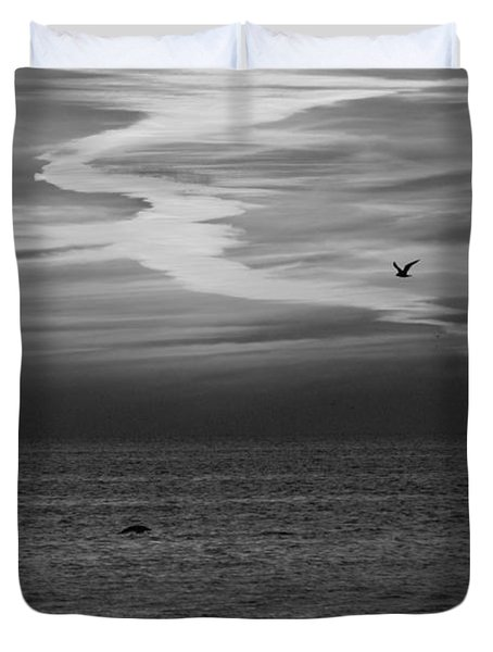Black and White Sunset Duvet Cover by Aimee L Maher Photography and Art