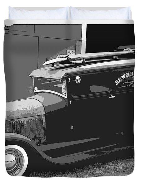 Black And White Surf Rod Duvet Cover by Steve McKinzie