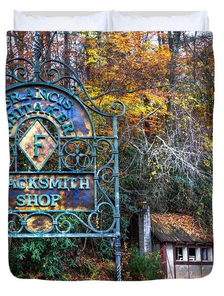 Blacksmith Shop Duvet Cover by Debra and Dave Vanderlaan