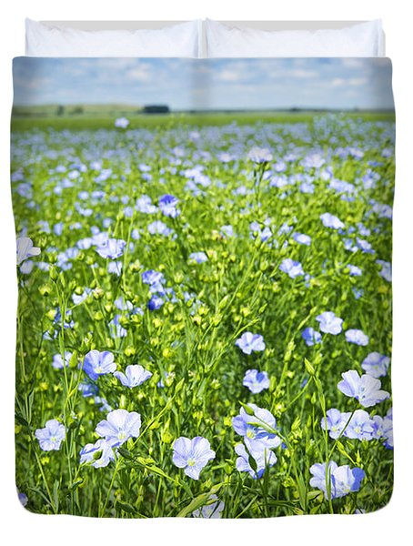 Blooming Flax Field Duvet Cover by Elena Elisseeva