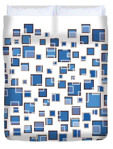 Blue Abstract Rectangles Duvet Cover by Frank Tschakert