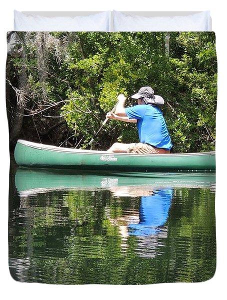 Blue Amongst The Greens - Canoeing On The St. Marks Duvet Cover by Marilyn Holkham