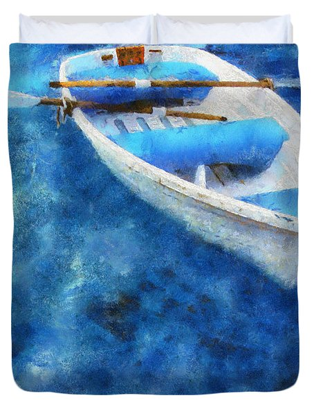 Blue and White. Lonely Boat. Impressionism Duvet Cover by Jenny Rainbow
