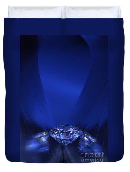 Blue Diamond In Blue Light Duvet Cover by Atiketta Sangasaeng