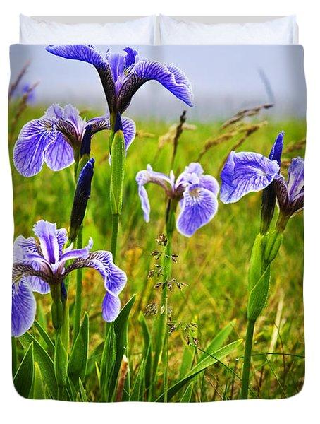 Blue flag iris flowers Duvet Cover by Elena Elisseeva