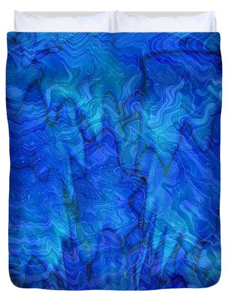 Blue Glass - Abstract Art Duvet Cover by Carol Groenen