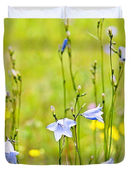 Blue harebells wildflowers Duvet Cover by Elena Elisseeva