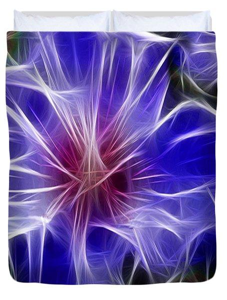 Blue Hibiscus Fractal Panel 3 Duvet Cover by Peter Piatt