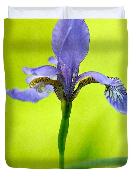 Blue Japanese Iris Duvet Cover by Lois Bryan