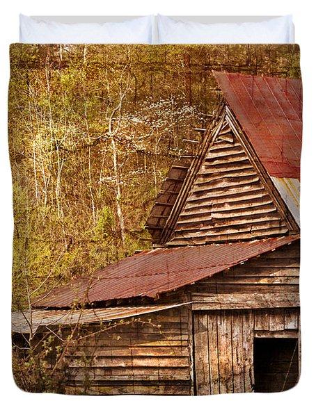 Blue Ridge Mountain Barn Duvet Cover by Debra and Dave Vanderlaan