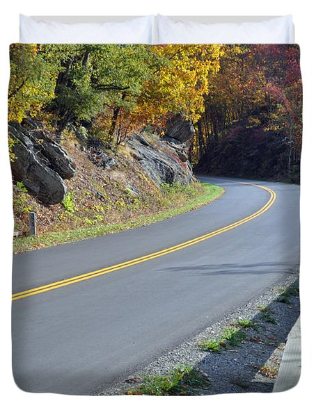 Blue Ridge Parkway Autumn Road Duvet Cover by Bruce Gourley