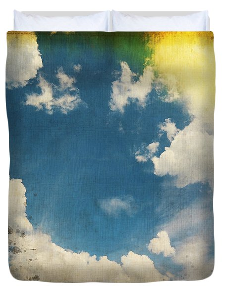 blue sky on old grunge paper Duvet Cover by Setsiri Silapasuwanchai