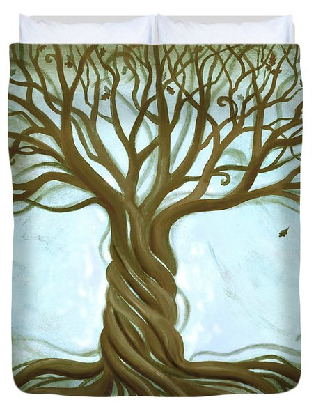Blue Tree of Life Duvet Cover by Renee Womack