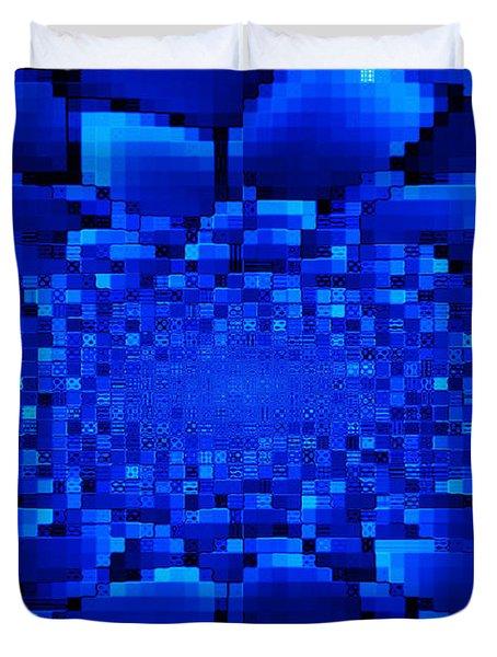Blue Windows Abstract Duvet Cover by Carol Groenen