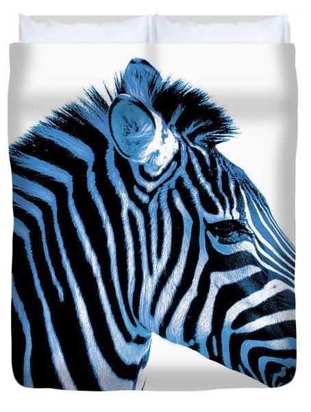 Blue zebra art Duvet Cover by Rebecca Margraf