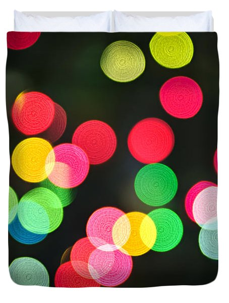Blurred Christmas lights Duvet Cover by Elena Elisseeva