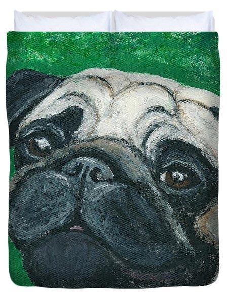 Bo The Pug Duvet Cover by Ania M Milo