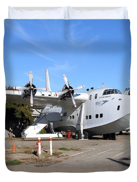 BOAC British Overseas Airways Corporation Speedbird Flying Boat . 7D11249 Duvet Cover by Wingsdomain Art and Photography