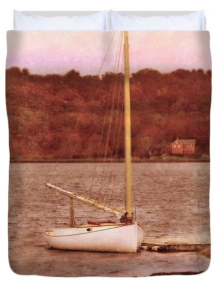 Boat Docked On The River Duvet Cover by Jill Battaglia