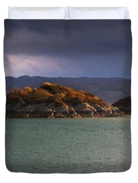 Boat On Loch Sunart, Scotland Duvet Cover by John Short