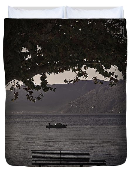 boat on the Lago Maggiore Duvet Cover by Joana Kruse