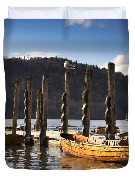 Boats Docked On A Pier, Keswick Duvet Cover by John Short